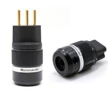 Monosaudio new design MS150G/F100G Swiss standard AC power plug, 10A/250V 15A/125V Audio Grade Power Connector