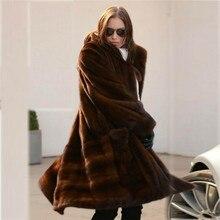 Fashion Long Real Mink Fur Coat with Turn-down Collar 2021 New Woman Natural Full Pelt Mink Fur Coat Luxury Fur Outwear Female