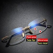 Gafas de lectura bifocales con acabado Anti Blue Ray, Gafas de presbicia con marco de Metal Vintage sin montura Para hombre, Gafas Para Leer con dioptrías 1,50