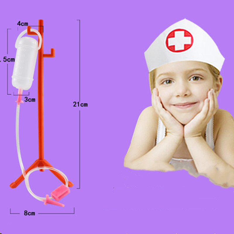 1 Set Role-playing Games Child Medical Kit With Hanging Bottle Simulation Hospital Pretend Play Doctor Play Set Toy For Children image