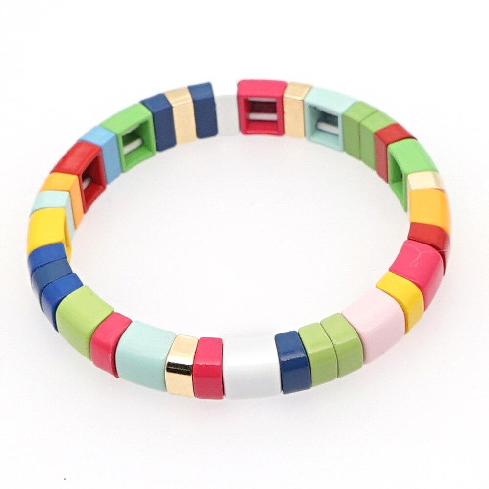 Enamel Tile Bracelet Rainbow Colorful Tila Beads Bracelets for Women & Men Color Block Elastic Bangle Bracelets(China)