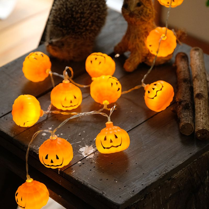 Halloween Halloween Lights 3D Jack-o-Lantern Pumpkin String Lights Halloween Decoration For All Saints' Day, Carnival, Patio,
