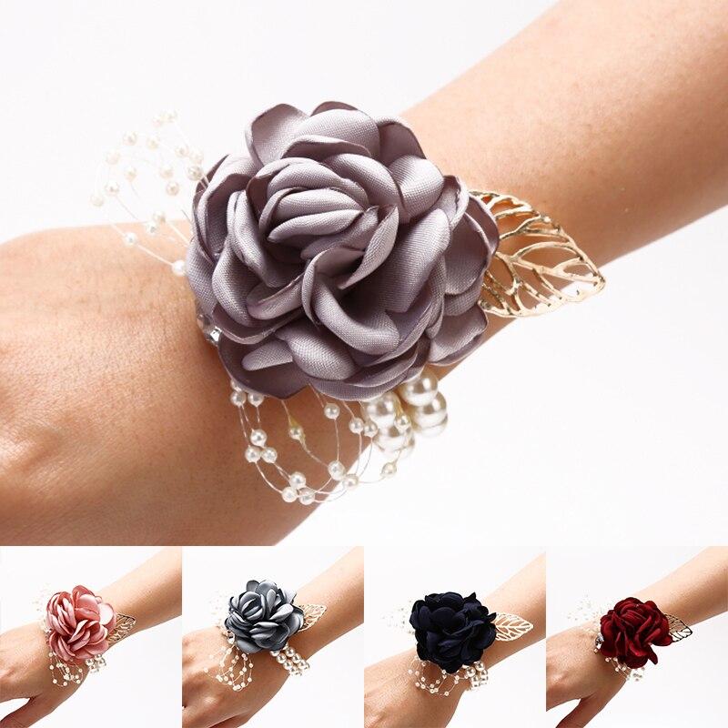 Girls Bridesmaid Wrist Flowers Wedding Prom Party Corsage Bracelet Flowers Wedding Supply Accessories Fabric Hand