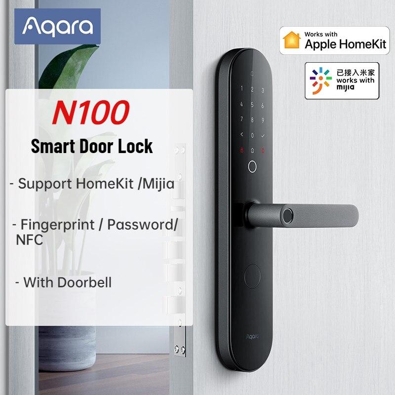 AQara N100 Smart Door Lock Fingerprint NFC Password Unlock Smart Home Work with Apple HomeKit Mijia APP with Doorbell