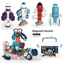 Magnetic Building blocks diyRobot magnetic DIY Wooden Robot Space Ship blocks 0-3Year-Old Toys