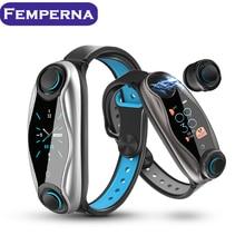 Femperna אלחוטי כפול אוזניות Bluetooth Earub אוזניות תשובה שיחת נשימה אור כושר חכם להקת צמיד שעון חכם