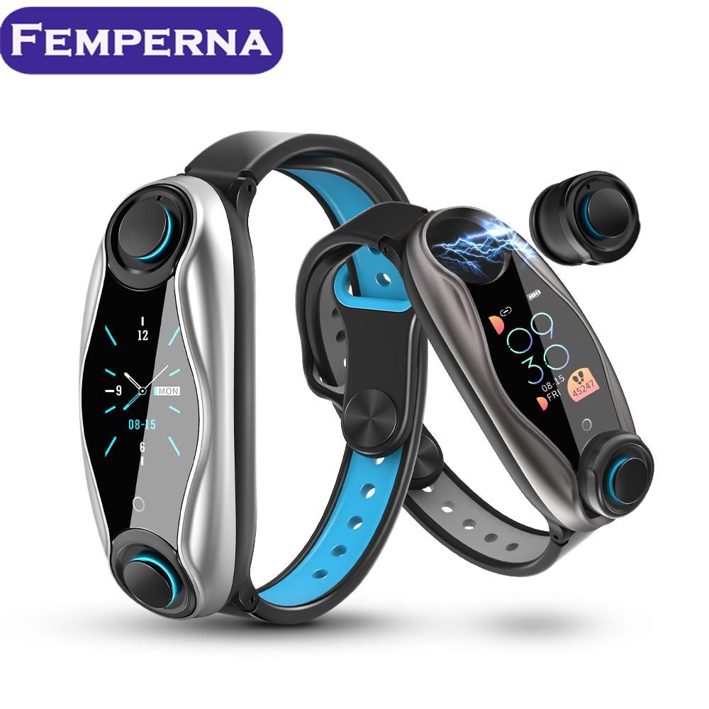 Femperna Wireless Headphones Double Bluetooth Earub Earphones Answer Call Breath Light Fitness Smart Band Wristband Smart Watch