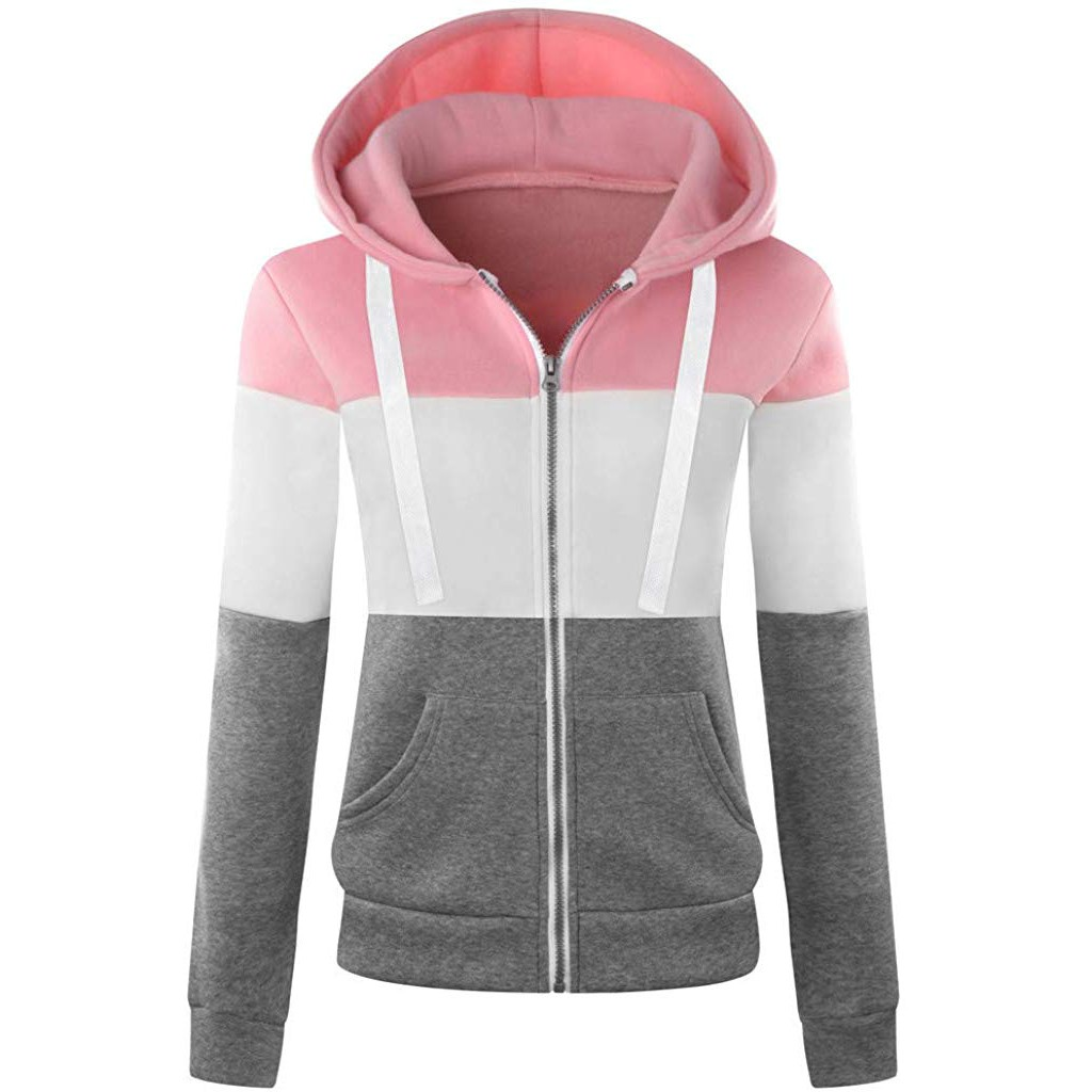 2019 Autumn Winter Women Hooded Patchwork Coat Windbreaker Female Zipper Windproof Outerwear   Basic     Jacket   Sportswear Tops#3