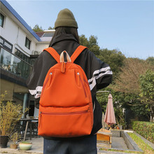 Recreational retro shoulder bag lady large capacity fashion simple pure color leisure travel backpack college student schoolbag 2017 new fashion student letter ribbon nylon ultra light backbag large capacity leisure pure color female backpack