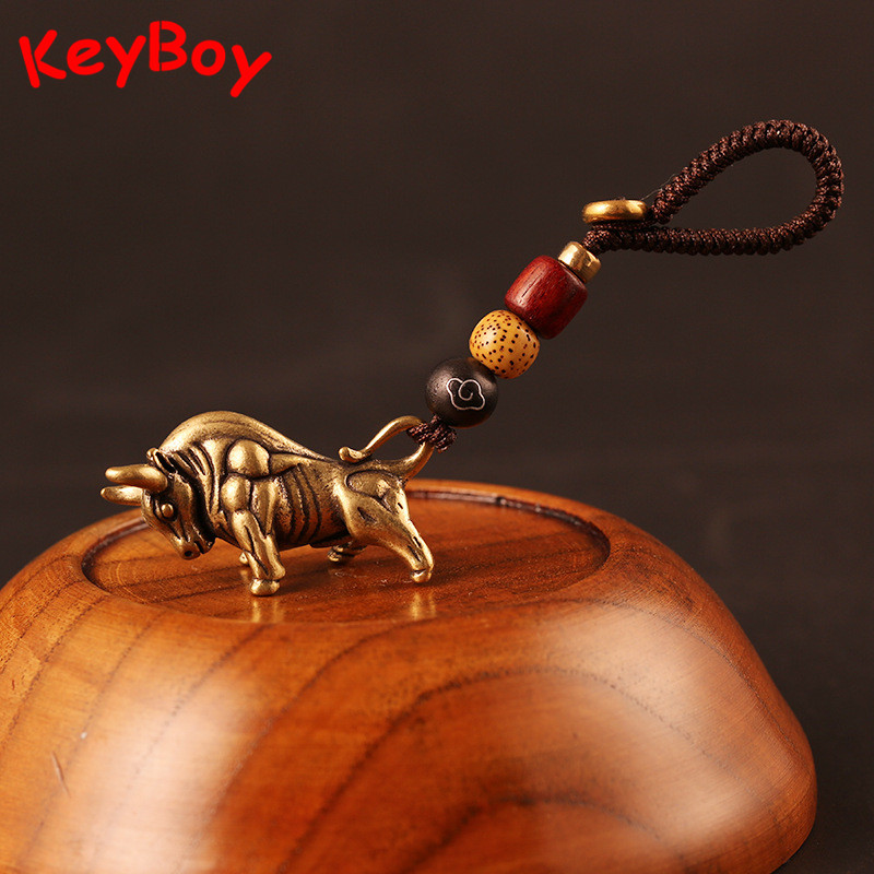 Vintage Copper Wall Street Bull Lucky Rope Keychain Pendant Brass 12 Zodiac Animals Dragon Snake Car Key Chain Bag Hanging Gifts