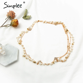 Simplee Vintage multilayer pendant chain necklace Fashion party club female sweater necklace Trendy pearls ladies accessories