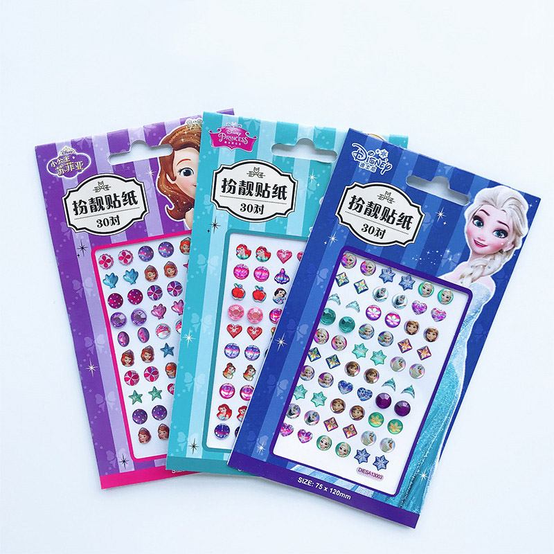 Girls Frozen Elsa Anna Princess Makeup Toys Nail Stickers Set Kids Ear Sticker Cartoon Snow White Sophia Girls Toys