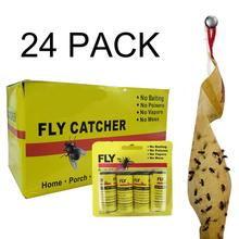 24 Pack Sticky Killing Fly Ribbons Roll Sticker Paper Eliminate Flies Insect Bug Home Glue Trap Catcher Strips Mosquito Killer