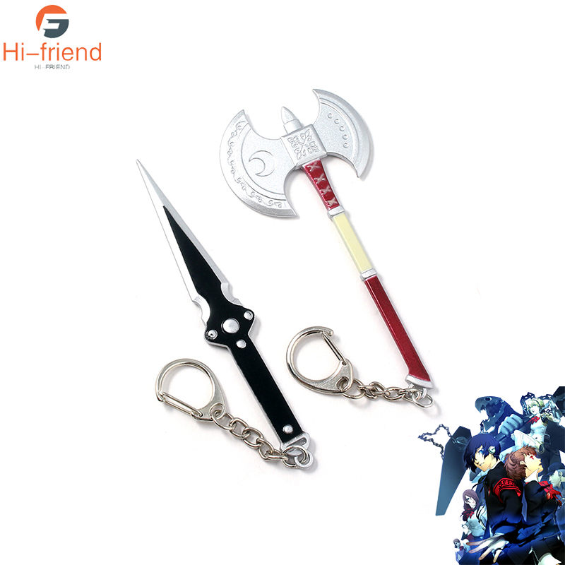 Game Persona 5 Ren Amamiya Equipment Keychains Man Car Woman Bag Black Dagger Weapon Keyring Gift image