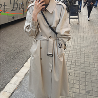 SuperAen New 2019 Autumn Trench Coat for Women Korean Style Wild Casual Ladies Windbreaker Solid Color Women Clothing
