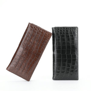 Image 4 - One piece Genuine Crocodile Belly Skin Businessmen Suits Clutch Wallet Authentic Alligator Leather Lining Male Long Card Purse