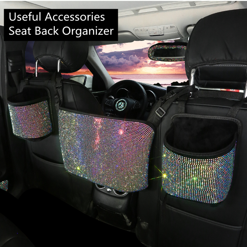 Car Hanging Organizer Seat Back Storage Premium Rhinestone Bling Container Stowing Tidying  Sparkly Accessories Interior Styling 1