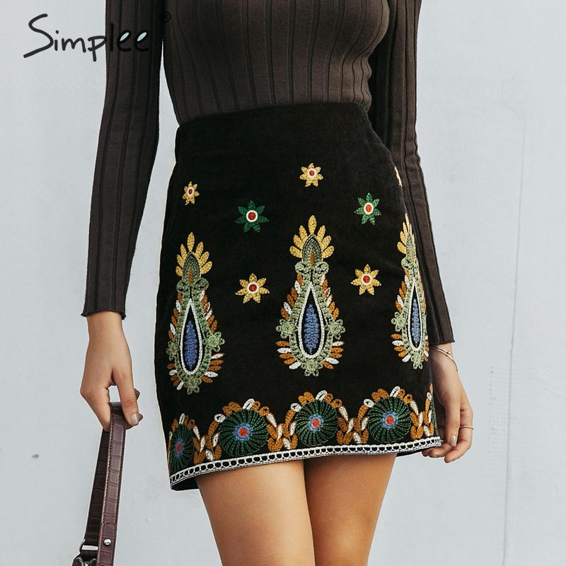 Simplee Vintage High Waist Skirts Womens Bottom Boho Pencil Corduroy Winter Skirt Female Embroidery Autumn Sexy Black Mini Skirt