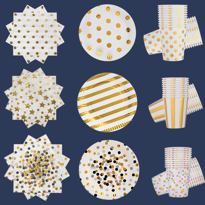 10pcs Golden Plate Golden Theme Birthday Party Tableware Supplies 20pcs Golden Paper Towel Stripe Golden Cup Combination