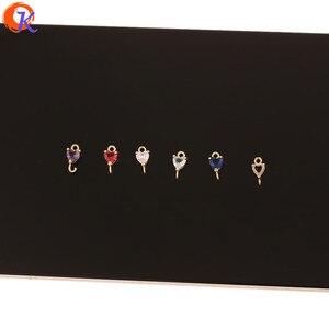 Image 2 - Accesorios de joyería de 5x9MM con diseño de Cordial, conectores de joyería de cristal, forma de corazón, hechos a mano, DIY, accesorios para pendientes, 100 Uds.