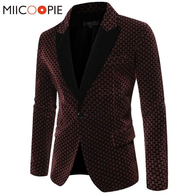 Gentleman Black Turndown Collar Men Blazer Jacket New Honeycomb Plaid Soft Wedding Blazer Homme Stage Business Casual Suit Men