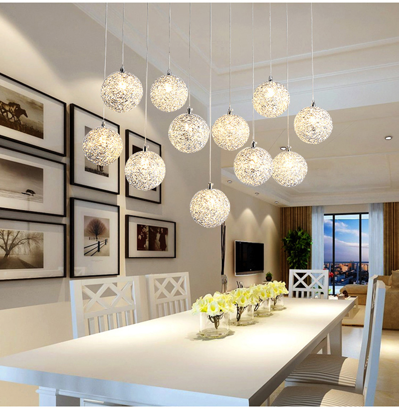 Rectangle Kitchen Island Chandelier Lighting Living Room Bedroom Hanging Lamp Spiral Staircase Round balls light fixtures