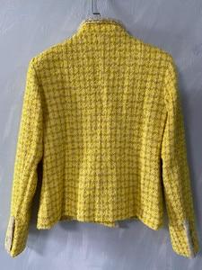Image 4 - CH009 Neue frühjahr stil. Zitrone gelb mantel. Stricken mantel. Ausgekleidet mit seide 100%
