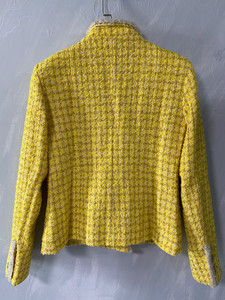 Image 4 - CH009 New spring style. Lemon yellow coat. Knit coat.Lined with silk 100%