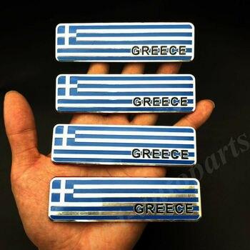 4pcs Metal Greece Greek Flag Car Trunk Rear Fender Emblem Badge Decal Sticker