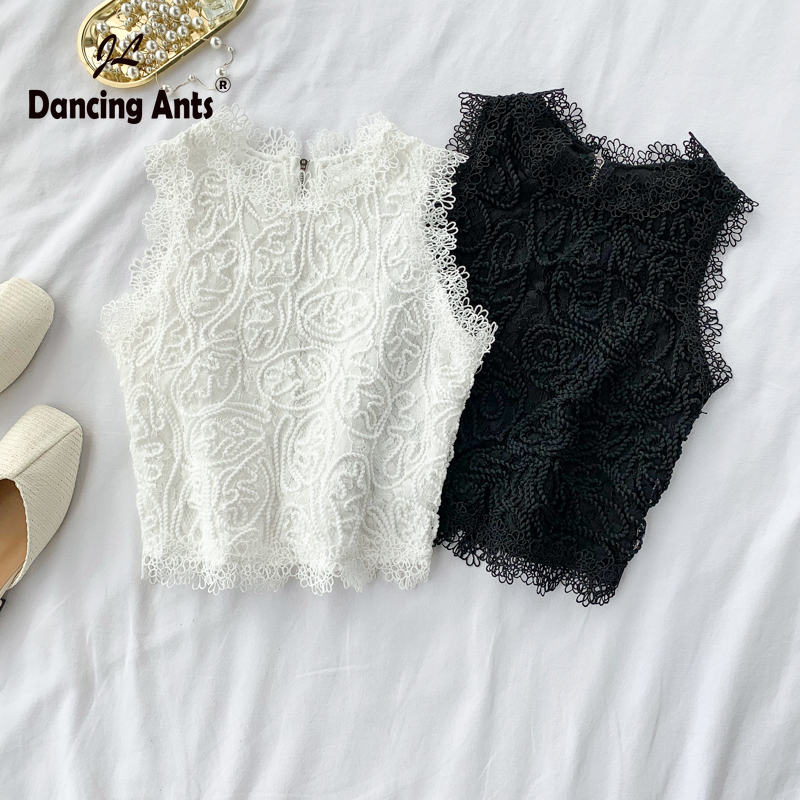 Woman Vest Strap O-neck Sleeveless Sexy Lace Short Tops For Office Solid Embroidery Hollow Out Zippers Loose Female Tank Tops