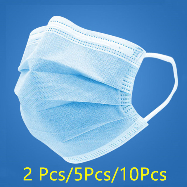 10 pcs 3-layer Disposable Protective Masks PM2.5 Adult + Kids Earmuffs Flu Bacteria Face Dust-proof Safety Masks Children 3