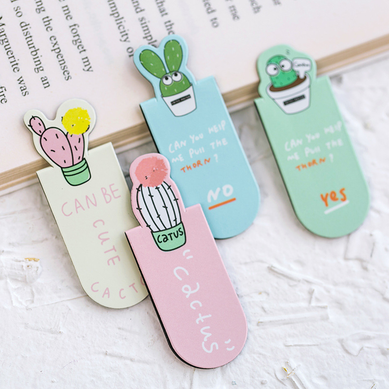 3PCS/Set Metal Cactus Series Magnetic Bookmark Double-sided Color Pattern Creative Style Random