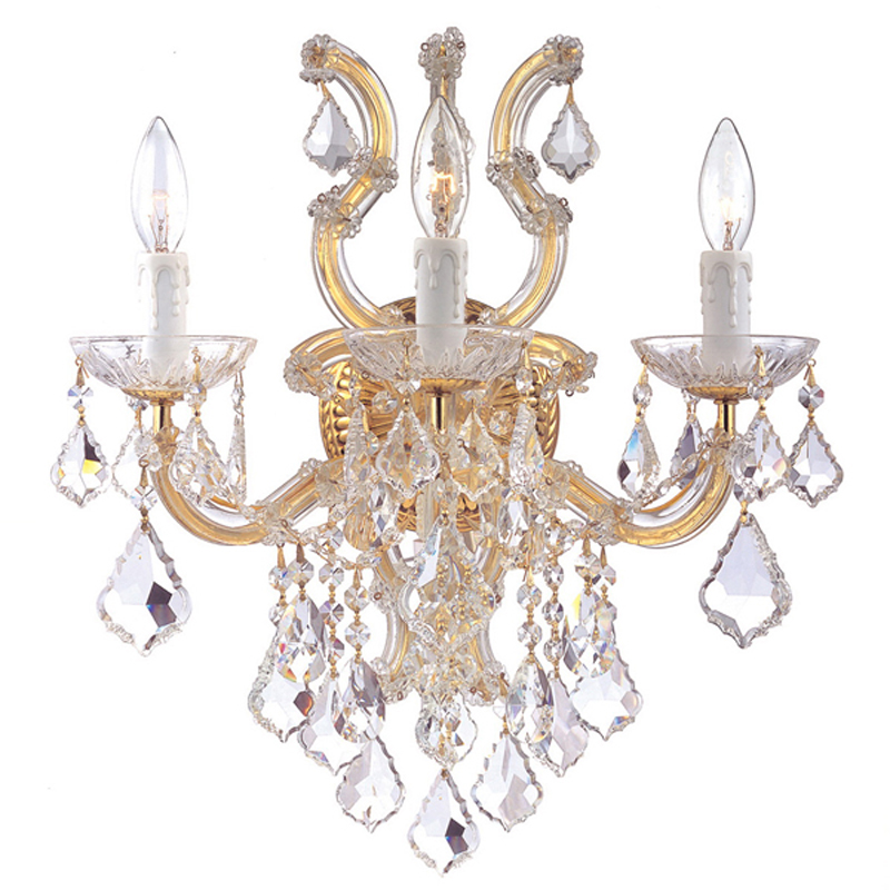 Maria Theresa Crystal Wall Light Lighting Modern Wall Lamp Chrome Sconce Lighting 3 Head +Free shipping!