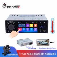 """Podofo 4"""" Car Radio Bluetooth Autoradio 1 Din Touch Screen Stereo Audio Video MP5 USB TF Temperature Display Handsfree In-dash"""