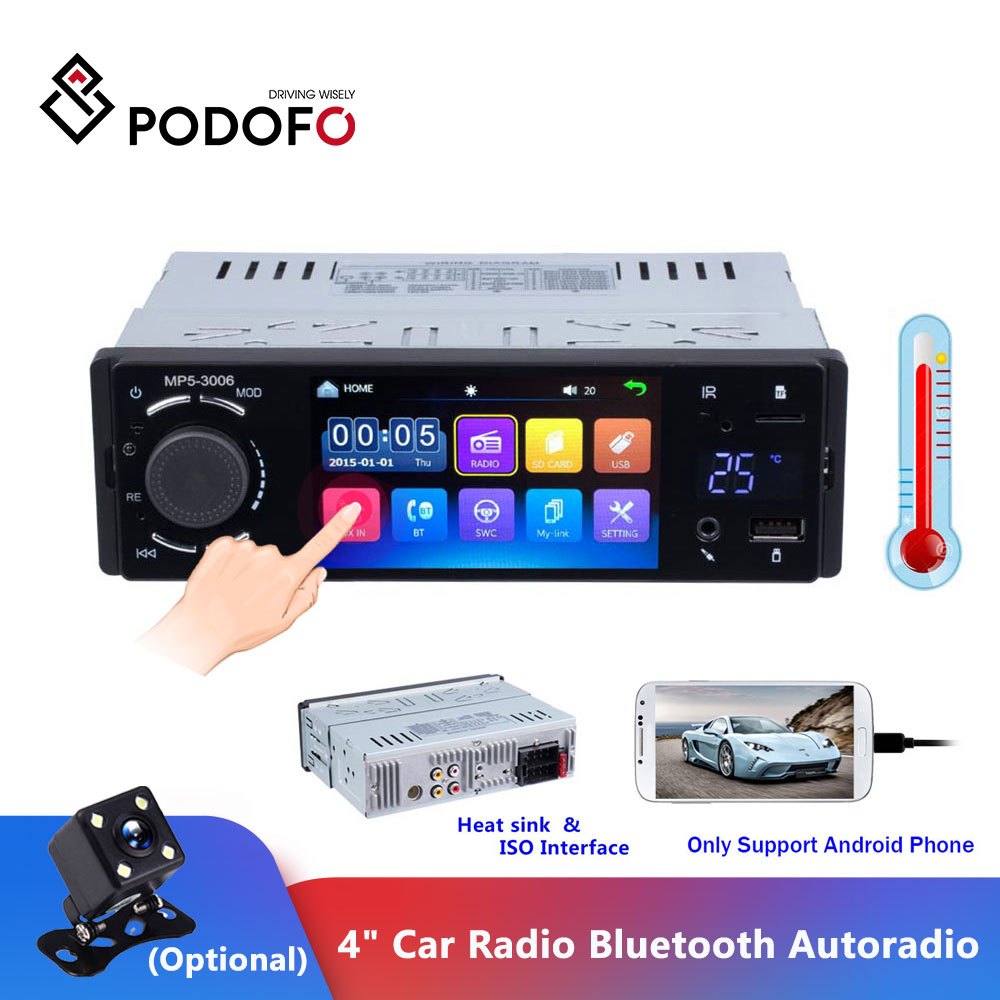 Podofo 4 Car Radio Bluetooth Autoradio 1 Din Touch Screen Stereo Audio Video MP5 USB TF Temperature Display Handsfree In-dash image