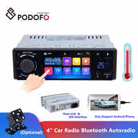"""Podofo 4 """"radio samochodowe z bluetooth Autoradio 1 Din z ekranem dotykowym Stereo audio wideo MP5 USB TF wyświetlacz temperatury zestaw głośnomówiący w desce rozdzielczej"""