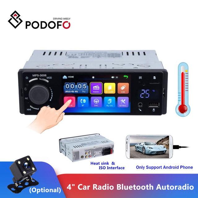 """Podofo rádio automotivo, rádio automotivo com tela sensível ao toque de 4 """", bluetooth, som estéreo, mp5, usb, tf, exibição de temperatura, mãos livres in dash"""