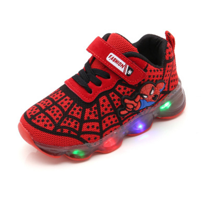 2020 Kids Led Shoes Luminous Baby Boys Girls Spiderman Lights Sneaker Spring Autumn Children Mesh Sport Shoes Toddler Girl Shoes