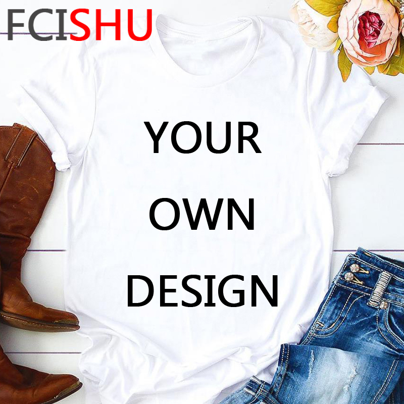 Customize Your Like Photo or Logo Your OWN Design T Shirt Men Unisex White Pink T shirt Casual Short Sleeve Tshirt Top Tees Male