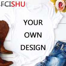 Personalizar su foto o logotipo su propio diseño camiseta hombres Unisex blanco rosa camiseta pantalón corto Casual manga camiseta Top Masculino
