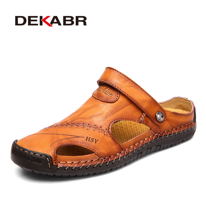 DEKABR Summer Genuine Leather Sandals Men Outdoor Beach Sandals Flat Comfortable Fashion Mens Breathable Water Trekking Shoes