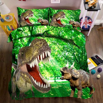 WOSTAR super king size bedding set duvet cover and pillowcase home textile kids bedding set 3d digital printing Cartoon dinosaur фото