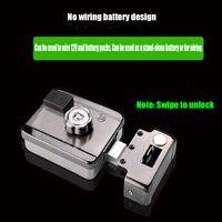 Fechadura eletrônica da porta do rfid/fechadura elétrica inteligente porta de indução eletromagnética ic fechadura elétrica da porta de segurança (pode usar a bateria)
