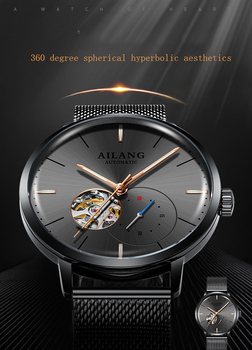 AILANG top luxury brand men's automatic mechanical watch waterproof watch minimalist style tourbillon 2019 new diesel machine