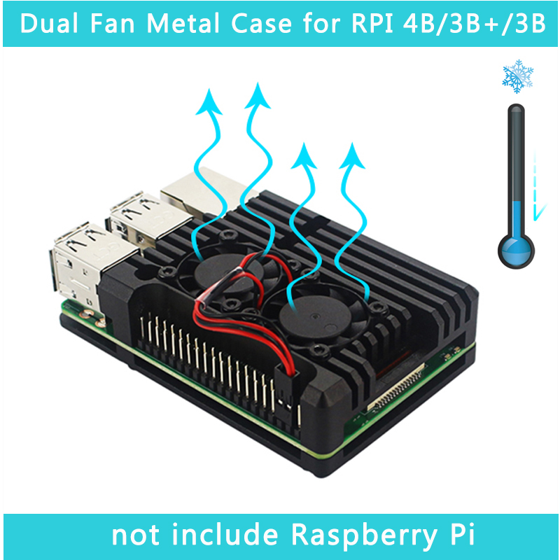 Raspberry Pi 4 Model B Dual Fans CNC Aluminum Alloy Case With Copper Heat Sinks For Raspberry Pi 3B+/3B
