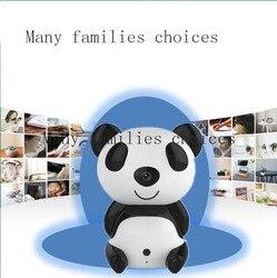 Wifi bezprzewodowy Mini Panda kamera IR Night Vision zdalnie niania elektroniczna baby monitor 360 stopni obrót zegarek wykrywanie ruchu An ti przed kradzieżą w Nianie elektroniczne od Bezpieczeństwo i ochrona na
