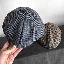 Мужские Британский Стиль Восьмиугольные Шляпы Зимняя шерстяная