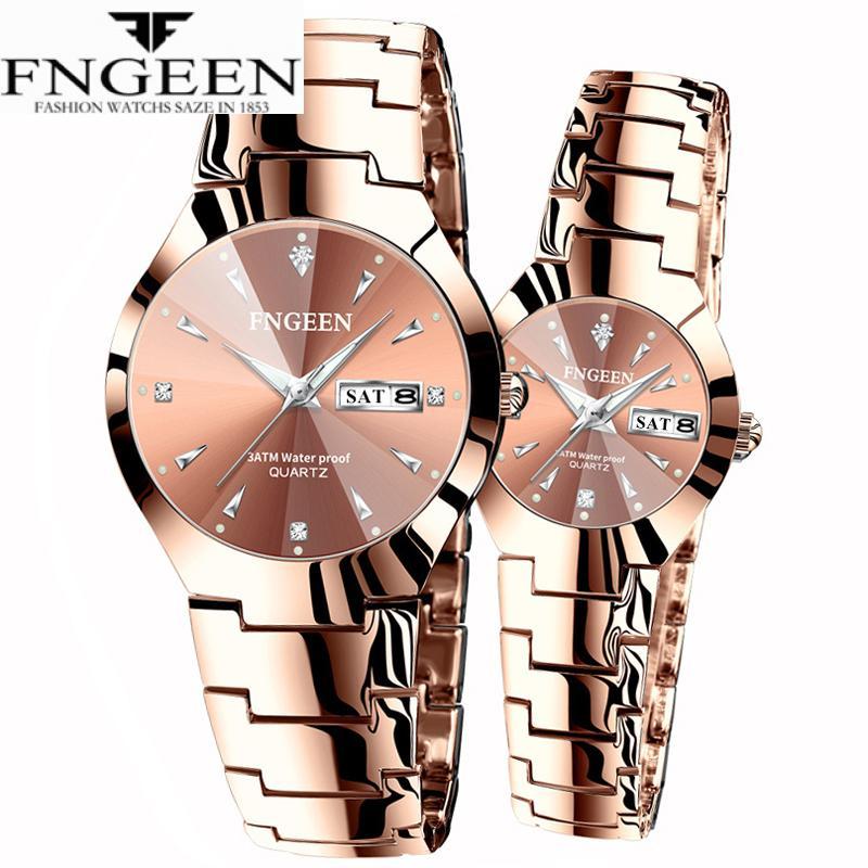 Relogio Feminino FNGEEN Couple Watch Men Quartz Watch For Lovers Luxury Womens Wristwatch Christmas Stainless Steel Waterproof