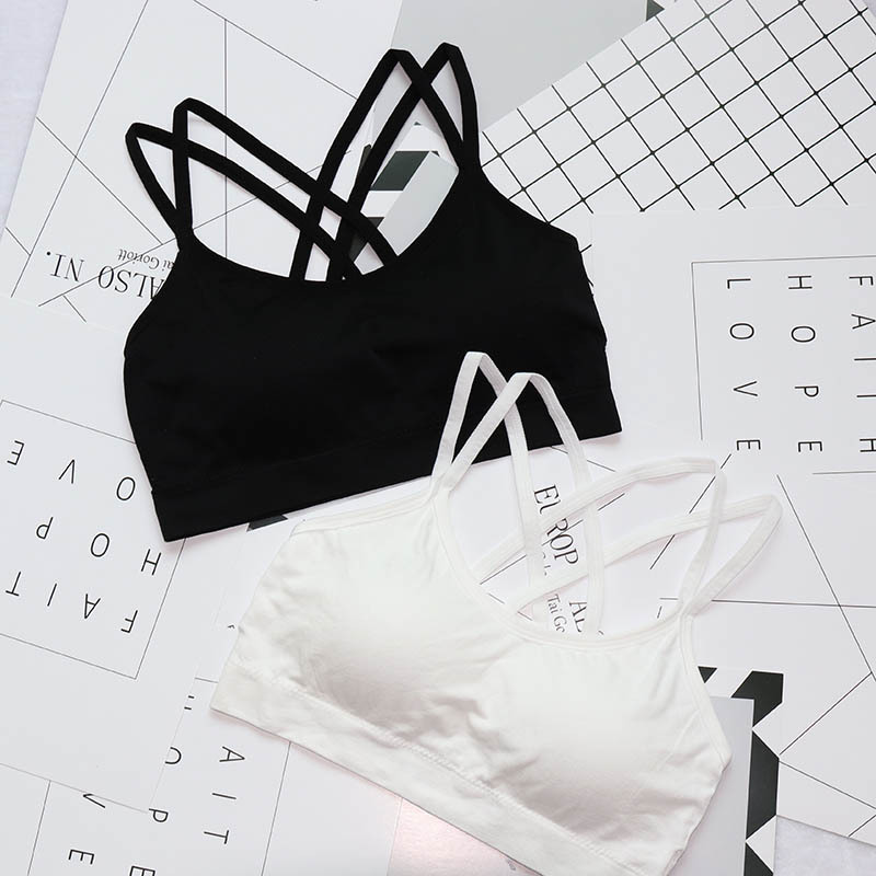 Women's Solid Color Cross Straps Beautiful Black Breathable Tube Tops Sport Yoga Bras Fitness Accessories Bralette Plus Size