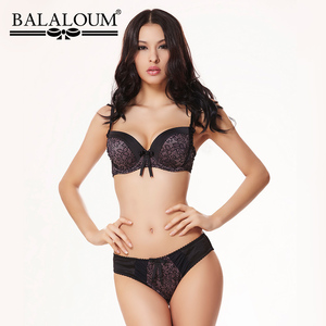 Image 1 - Balaloum סקסי פרחוני תחרה 3/4 כוס לדחוף את Bowknot נשים חזייה חזיית חזייה ללא תפר רך נשי הלבשה תחתונה סט